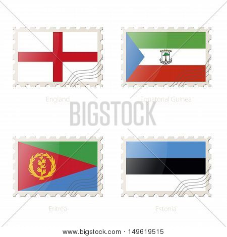 Postage Stamp With The Image Of England, Equatorial Guinea, Eritrea, Estonia Flag.