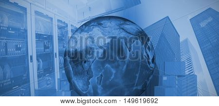 Earth surrounded by cardboard boxes against image of a data center