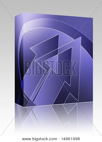 Software package box Upwards forward moving arrows abstract design illustration