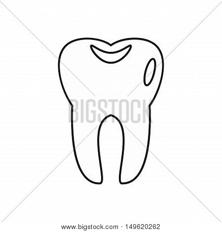 Tooth icon in outline style on a white background vector illustration