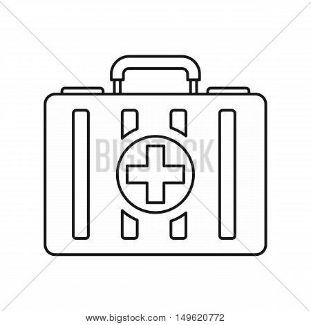 First aid kit icon in outline style on a white background vector illustration