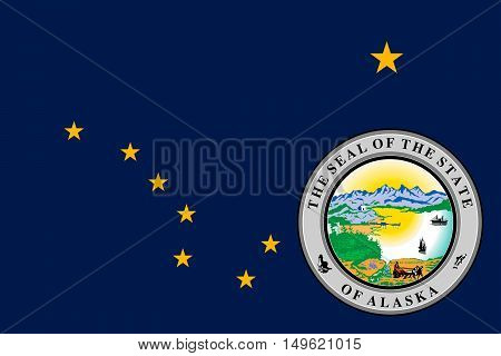 Flag of Alaska state in United States