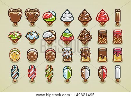 Big set of 28 different colorful ice creams