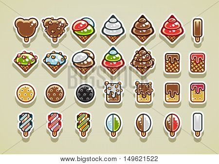 Set of different 28 2D ice creams