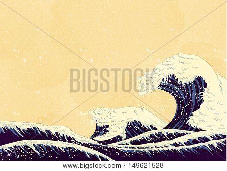 Ocean Waves, style of Japanese painting. Japan motif, illustration natural of sea waves.