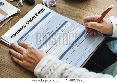 Insurance Claim Form Document Application Concept