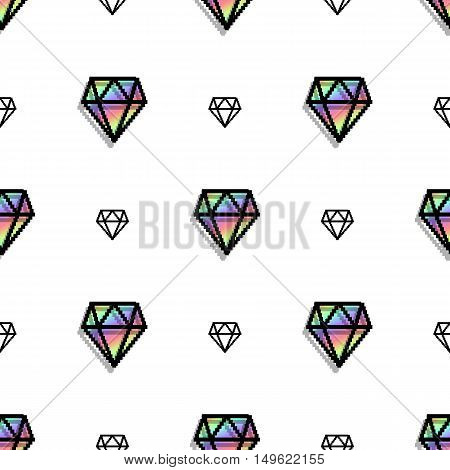 Background fashion diamond style pixel art seamless pattern. jewelry patch. Precious diamonds