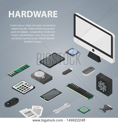 Vector isometric banner of hardware for website, apps and infographic. Business concept poster of computer store and electronic market.