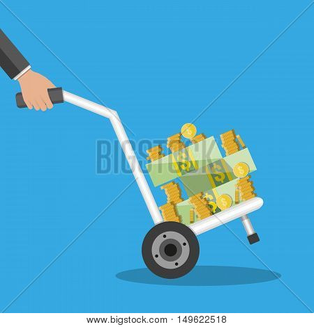 hand truck full of money and coins. vector illustration in flat style on blue background