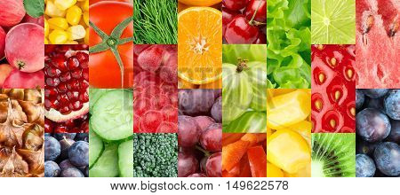 Fresh fruits and vegetables. Food background. Collection of color fruit and vegetables