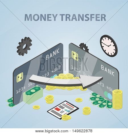 Vector isometric banner of money transfer for website. Business concept poster of economy, marketing, banking and finance.