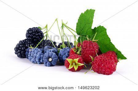 Raspberry with blackberry on white background. white, sweet,