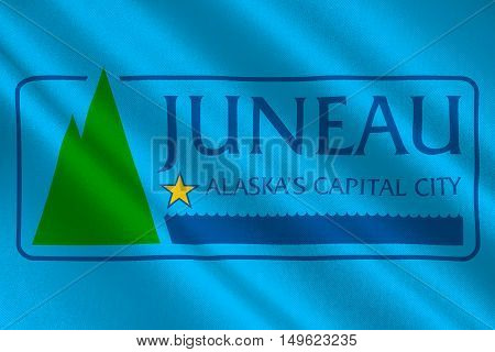 Flag of Juneau the capital of Alaska United States. 3D illustration