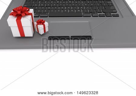 3D rendering of gift boxes on a labtop. represents online gift shopping concept.