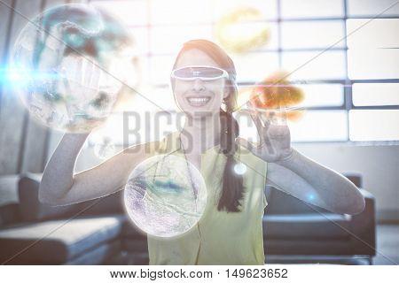 Digital image of earth against cheerful woman gesturing