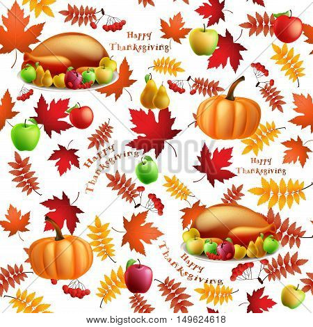 Seamless pattern with apples, pears, turkey, pumpkin and maple leaf for harvest fall festival, thanksgiving day. Autumn background. The word Happy Thanksgiving