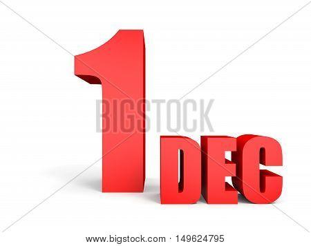 December 1. Text On White Background.