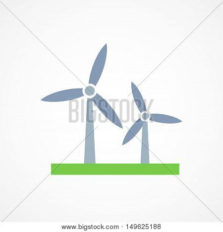 Wind turbine icon sign on white background