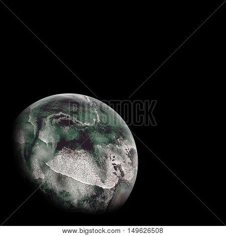Digitally generated image of sea covered earth over white background