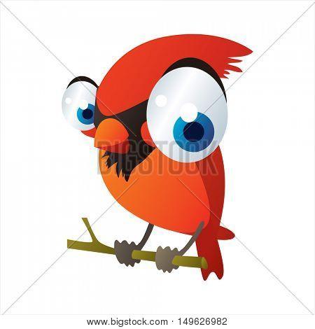 cute vector comic cartoon Bird. Cool colorful Cardinal bird