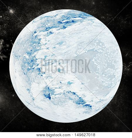 Digitally generated image of snow covered earth on white background