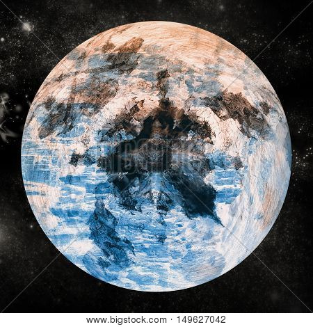 Digitally composite image of planet earth over white background