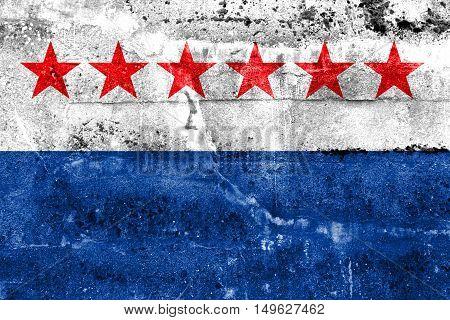 Flag Of Sao Joao Da Barra, Rio De Janeiro State, Brazil, Painted On Dirty Wall