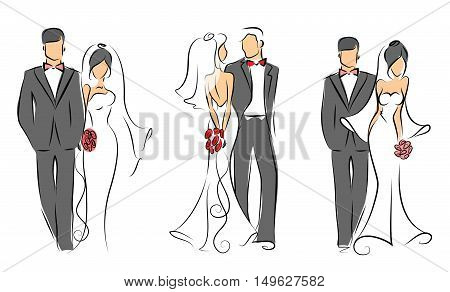 Set of wedding groom and bride, vector illustration for wedding invitations and cards