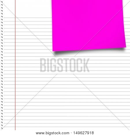 Purple paper against spiral notepad