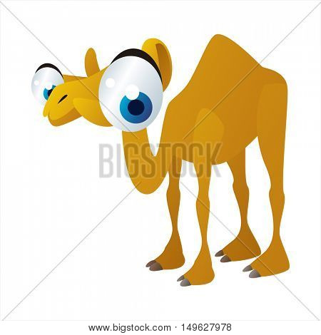 cute vector comic cartoon animal. Cool colorful Dromedary Camel