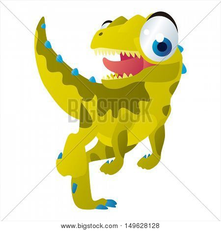 cute vector comic cartoon animal. Cool colorful Tyrannosaurus