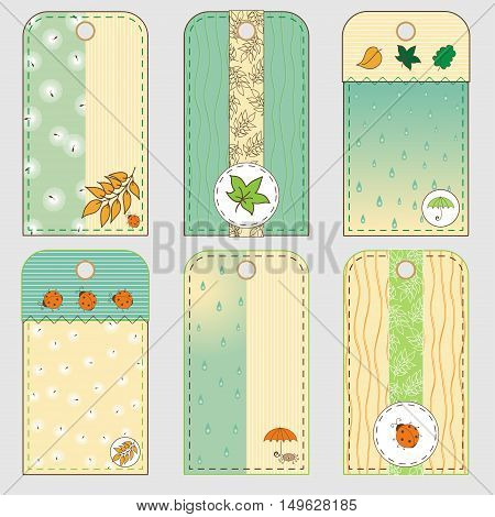 Set of six tags in autumn theme. Cartoon bugs rain and falling leaves. Soft yellow and green colors