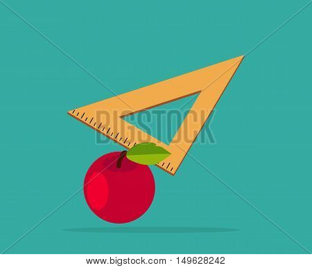 Red apple with yellow measuring tape. Back To School supplies apple, ruler. Vector illustration