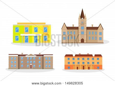 Set of buildings kindergarten school college university. Modern editable buildings isolated. Educational establishments since childhood till grown up. Part of series of lifelong learning. Vector