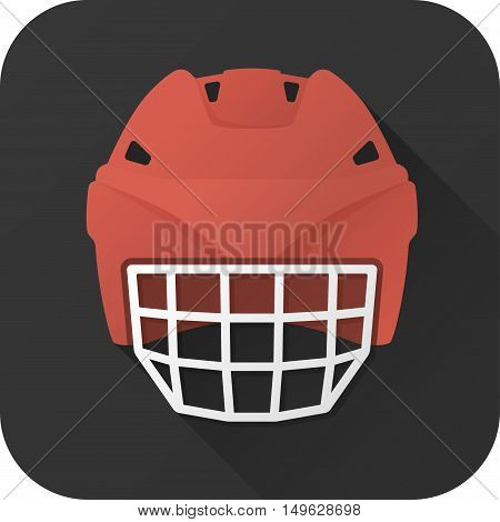 Vector illustration. Toy hockey helmet offensive player in flat design with long shadow. Square shape icon in simple design. Icon vector size 1024 corner radius 180