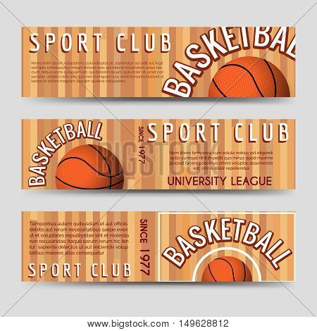 Basketball sport club horizontal banners template vector ilustration