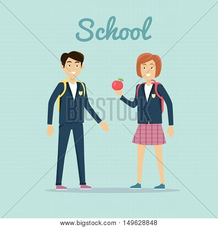 School concept vector. Flat design. Smiling pupils boy and girl with backpacks and apple standing on blue background. Lunch on break. Picture for child learning years, students friendship illustrating