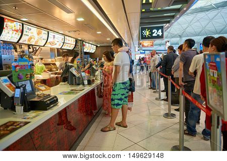 HONG KONG - CIRCA SEPTEMBER, 2016: McDonald's in Hong Kong International Airport. McDonald's is the world's largest chain of hamburger fast food restaurants.