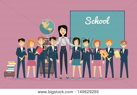 Teachers day. Young teacher with pupils near the chalkboard. Word school written on the blackboard. Back to school. Primary education. World Book Day. Education concept. Vector illustration.