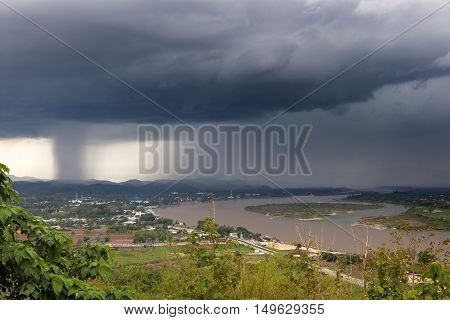 Chiang Saen, Thailand. Beautiful View Of Mekong River From The Temple Hill Before The Heavy Rain. Th