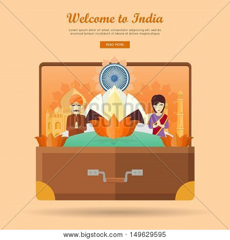 Welcome to India. Travelling banner. Landscape with traditional Indian landmarks on the photo in the suitcase. Going to vacation. Part of series of travelling around the world. Vector illustration