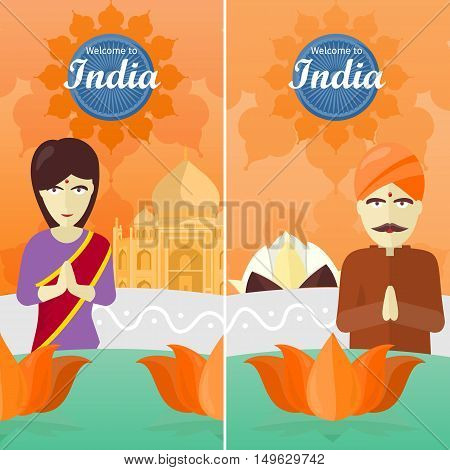 Welcome to India, tourism poster design with attractions. India landmark. Indians in traditional dress. Ashoka wheel. Taj Mahal and lotus sign.Travel composition with famous landmarks