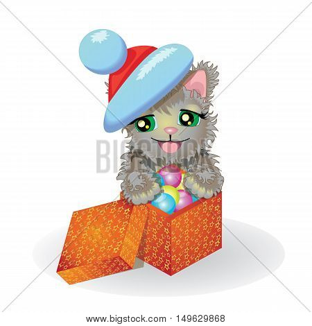 Kitten in a Santa Claus hat and with Christmas gifts