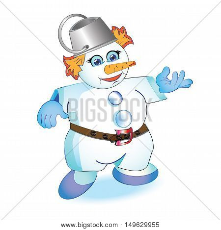 Snowman on a white background Vector illustration for creativity and entertainment
