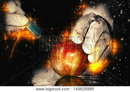 Red apple in genetic engineering laboratory gmo food concept. Fire illustration.