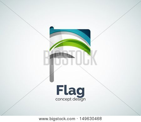 flag logo template, abstract business icon