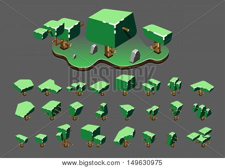 Isometric trees in the spring for creating video games