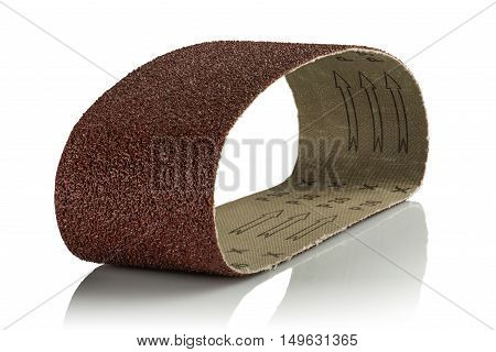Sandpaper for belt grinding machines on white background
