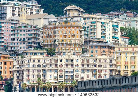 View of old houses on the hill in the historic part of Genoa.
