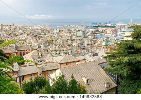 Genoa. Aerial view of the city from the observation deck Belvedere Luigi Montaldo.